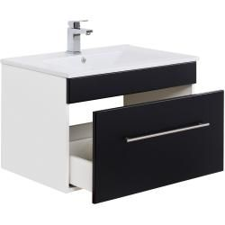 Photo of Bathroom furniture set Viva 75 (3 pieces) black silk gloss emotion