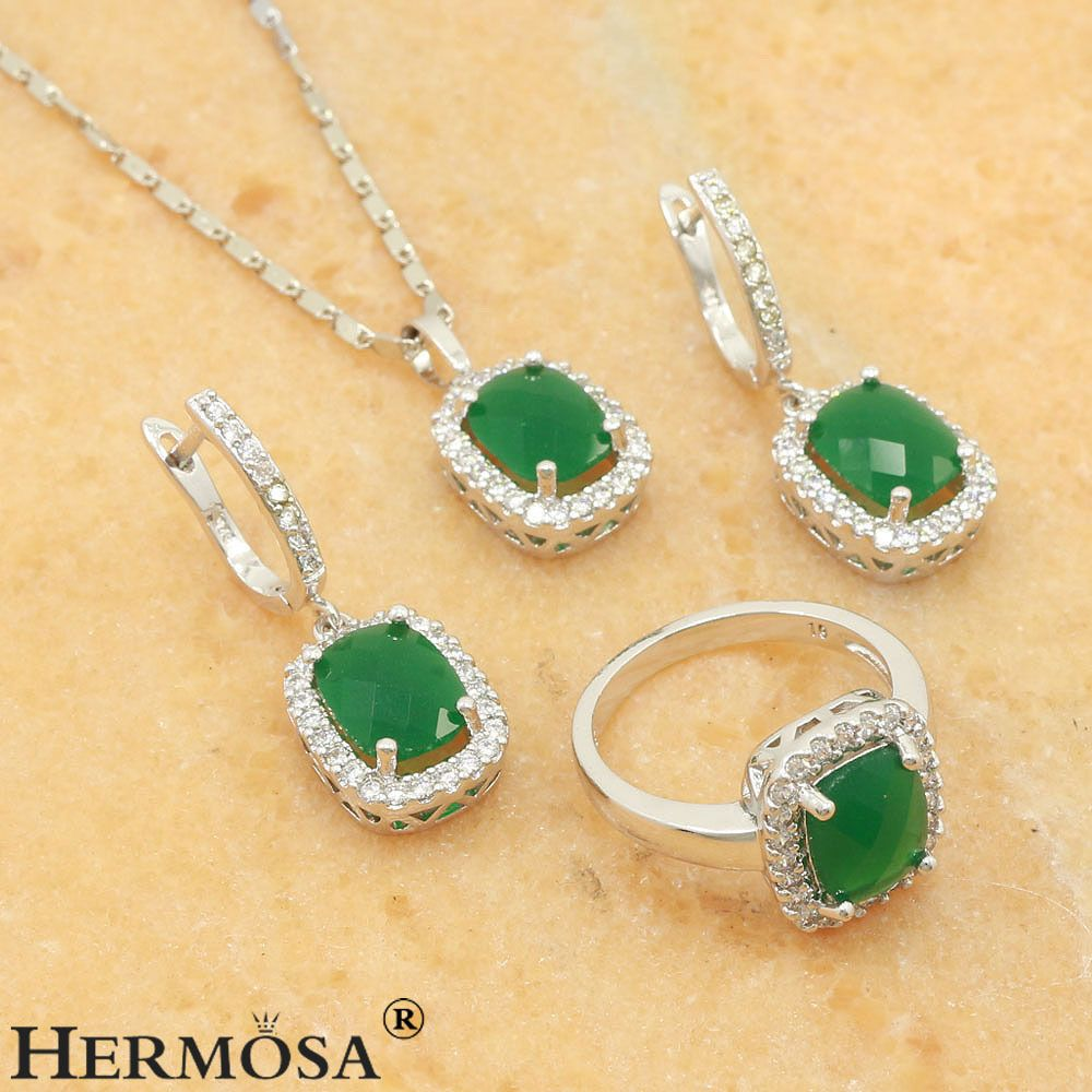 75 Off Charming Green Emerald Sterling Silver Sets Necklace Earring Rings 8 Hermosa