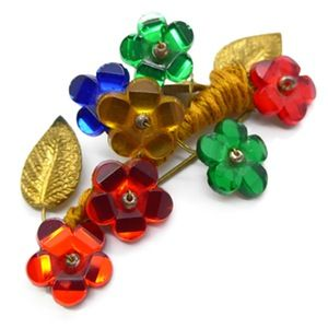 Image of Vintage 1940s Vauxhall Mirror Glass Flower Spray Pin Brooch