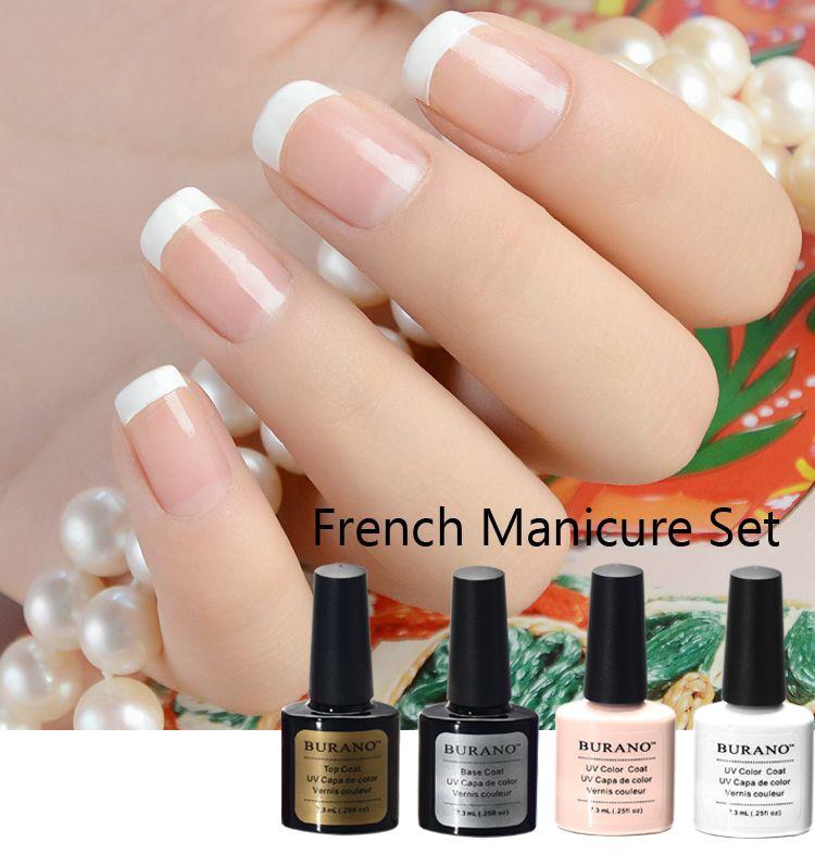 Burano 7.3 ml uv led soak off gel nail polish french manicure polacco set tip top coat base