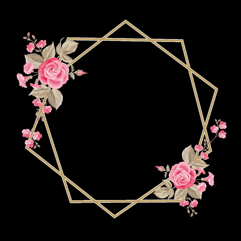 Frame Rose Flower Pink اطار ورد وردي Flower Graphic Design Floral Border Design Floral Logo Design