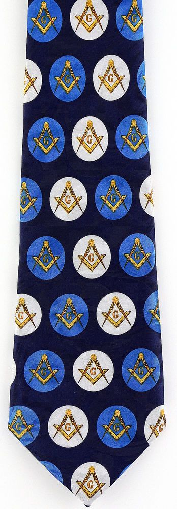 Compass Circles Men/'s Neck Tie Mason Freemanson Masonic Square Blue Necktie