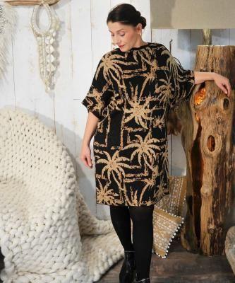 Merveille – robe pull grande taille noire beige