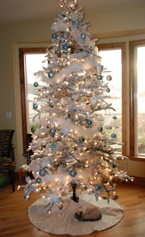 Ordinary Holiday Decorating Ideas 2014 Part - 4: Luxuriant White Christmas Tree Decorating Ideas, Blue Ball Holiday  Decoration Ideas For 2014 #2014