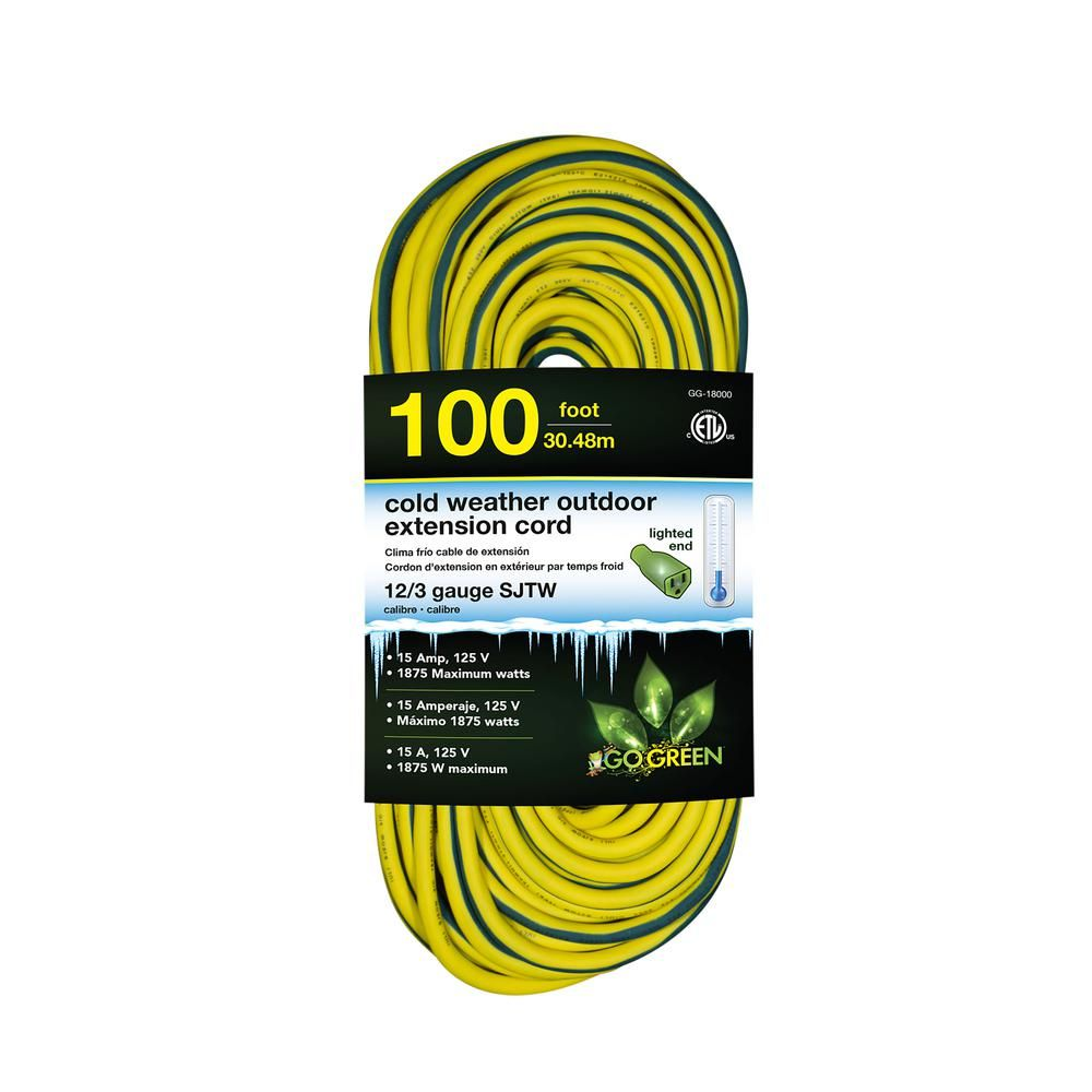 Go Green Power 100 Ft 12 3 Sjeow Cold Weather Extension Cord With Lighted End Yellow Products Extension Cord Outdoor Extension Cord Cord