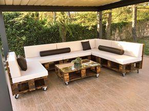 muebles de terraza con palets - Sofas De Palets