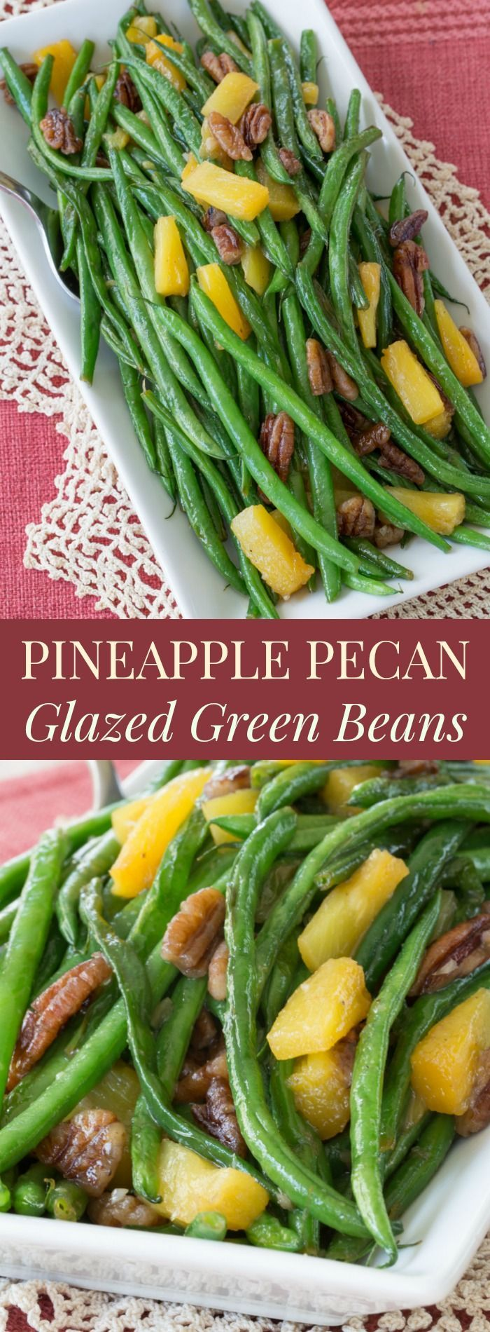 Pineapple Pecan Glazed Green Beans - easy holiday side dish for Thanksgiving or Christmas. Gluten free and vegan
