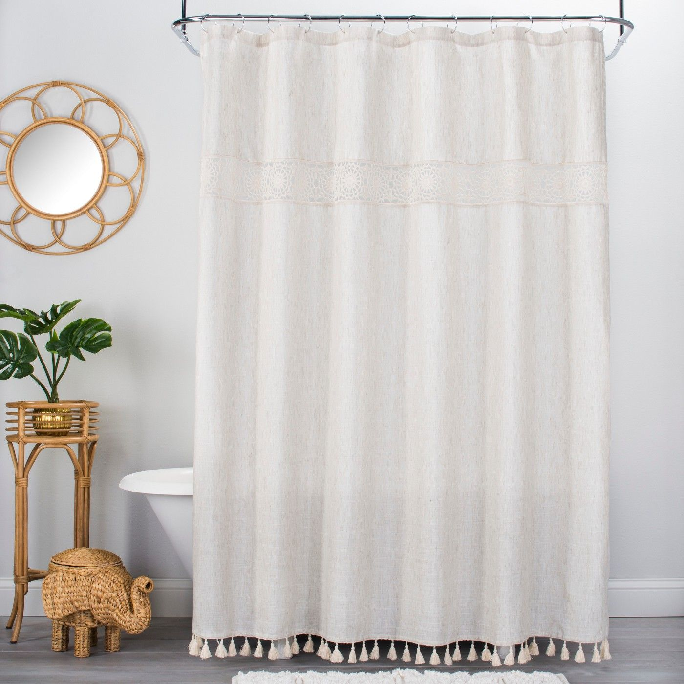 Solid Crochet With Tassels Shower Curtain Tan Opalhouse With