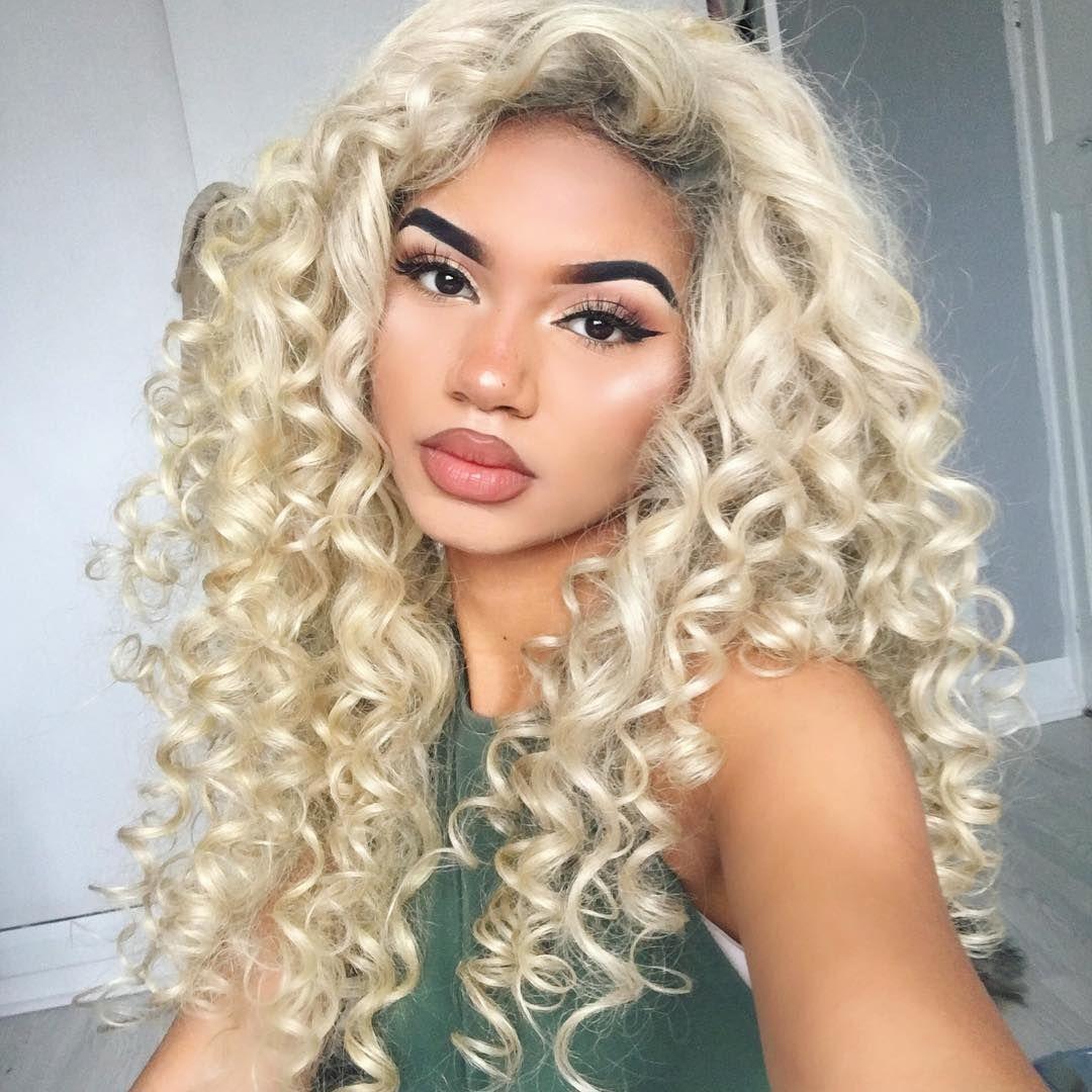 Platinum Blonde Virgin Human Hair Wig 16 Long Curly Hair Curly Hair Styles Hair Styles