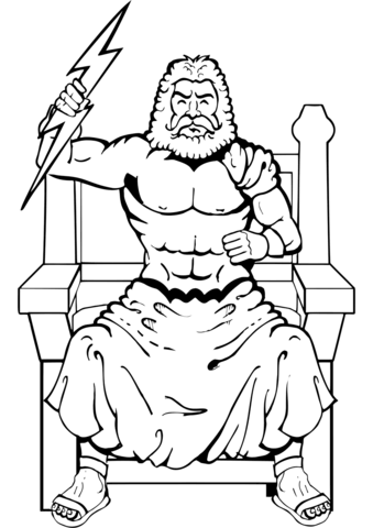 Zeus With Thunderbolt Coloring Page Coloring Pages Greece Art Color