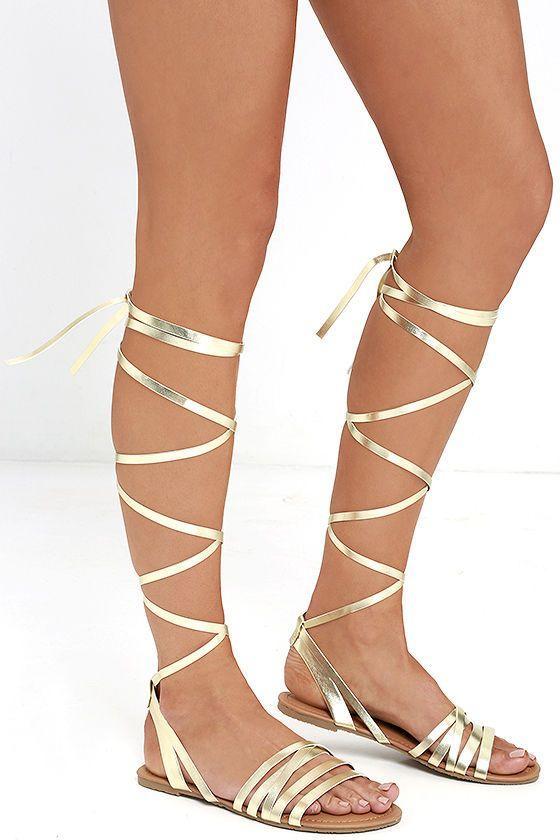 LULUS Topanga Gold Leg Wrap Sandals