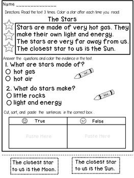 Reading Comprehension Passages (1st Grade) | First grade ...