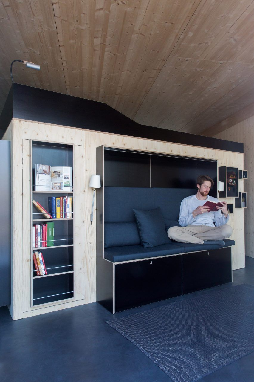compact living furniture. Nils Holger Moormann Creates Kammerspiel Living Cube For Micro Apartments Compact Furniture
