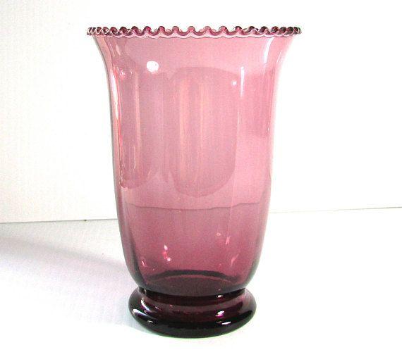 Vintage Purple Glass Vase Ruffled Edges Hannahs Stuff Pinterest