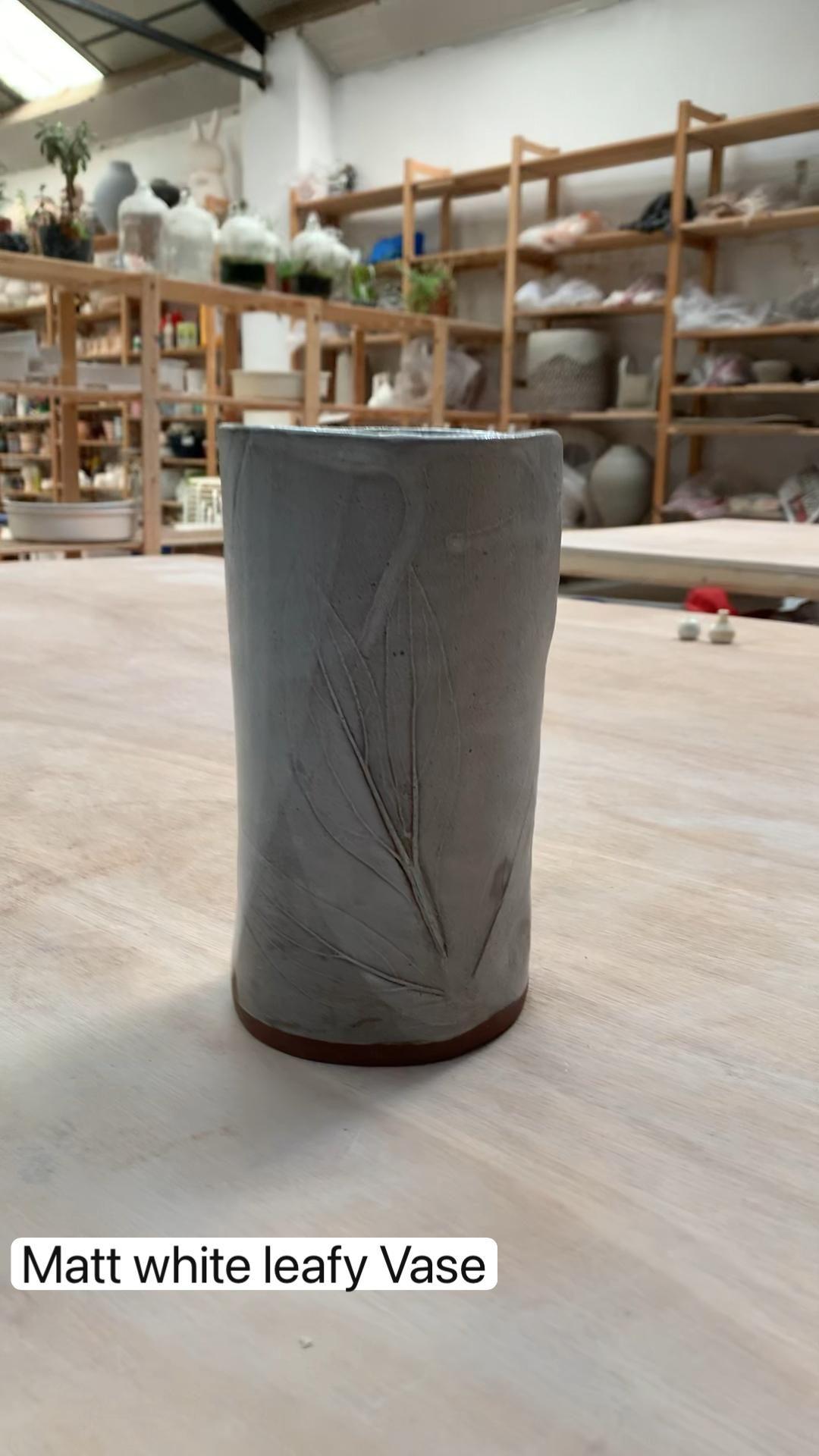 Matt white leafy Vase