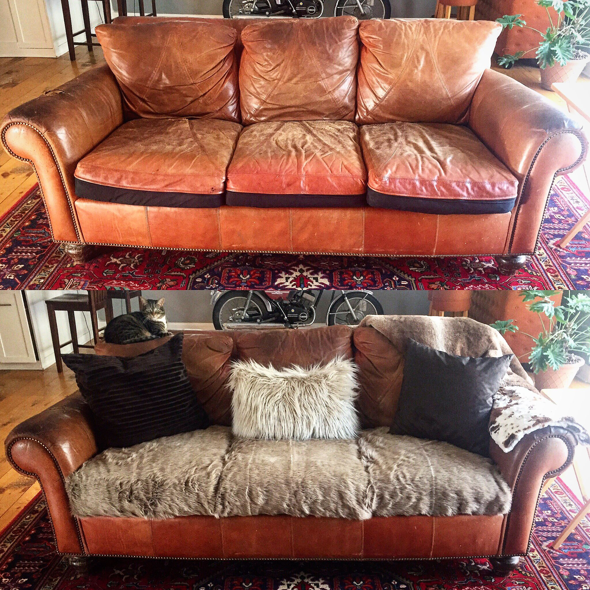 Couch Makeover Recovered Cushions Vintage Leather Faux Fur Furniture Revival