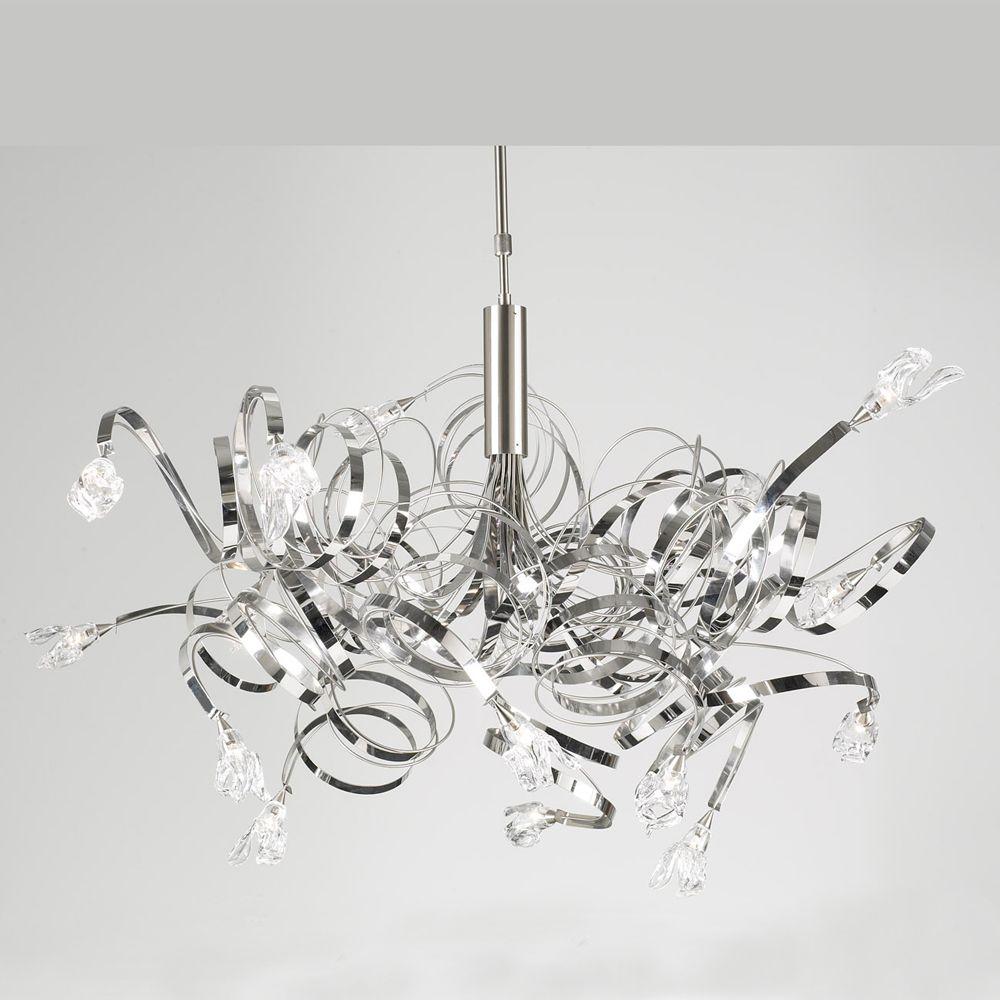 Ribbon 13 Light Crystal Chandelier, Chrome
