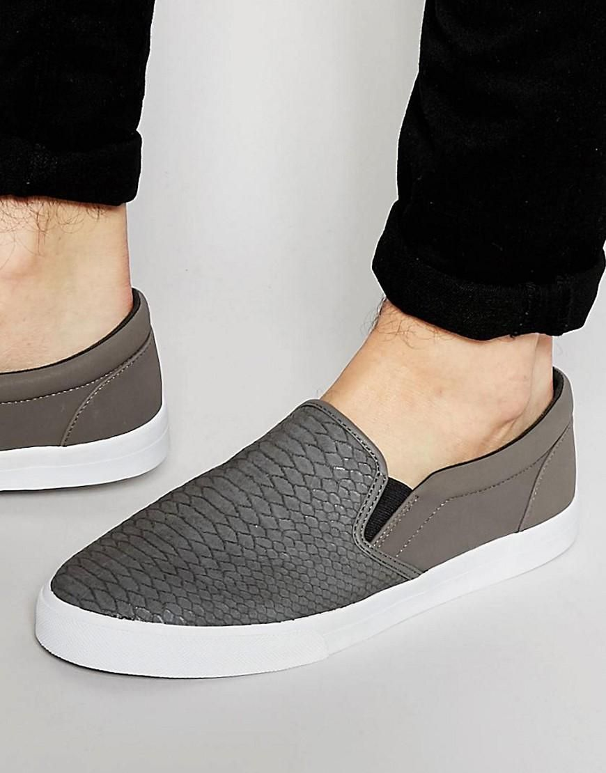 28a0663de7f ASOS | ASOS Slip On Plimsolls In Grey With Snakeskin Effect and Faux ...