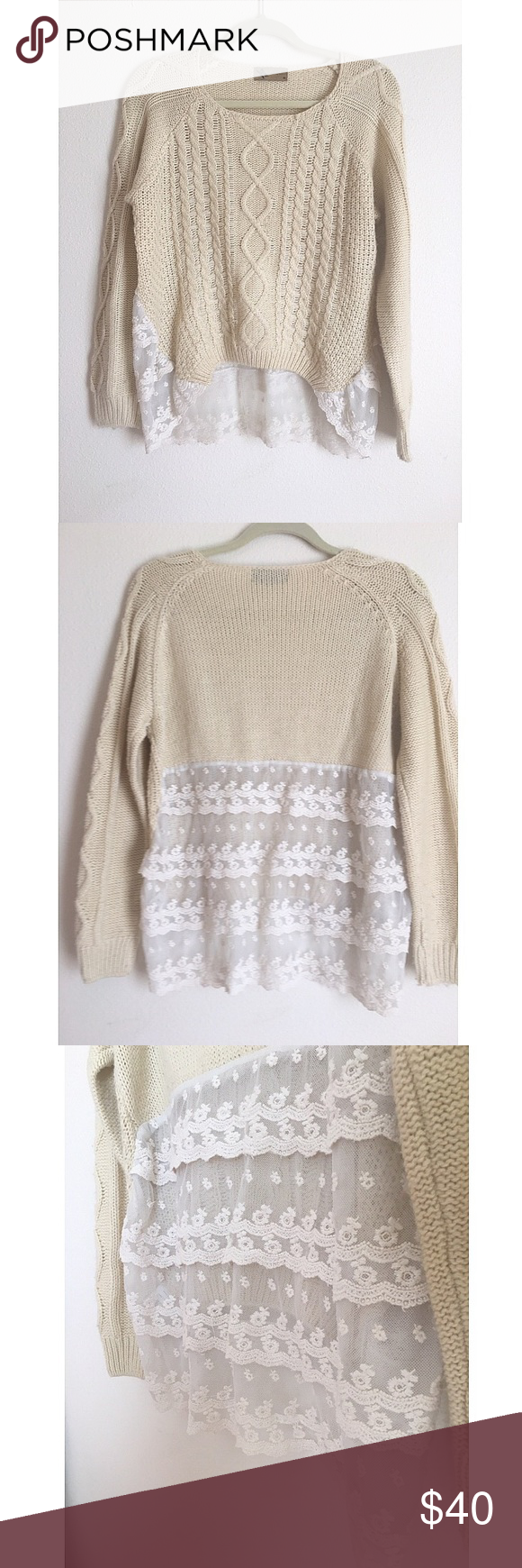 Gorgeous Lace Knit Sweater Cream colored knit sweater with layered ...