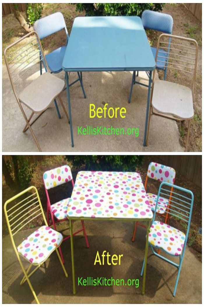 From Dumpster Bound To Retro Groovy In One Day Card Table Set Card Table Makeover Table Cards