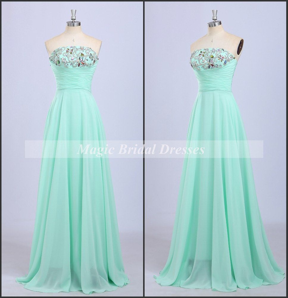 Hot summer fresh popular color mint green chiffon prom dress