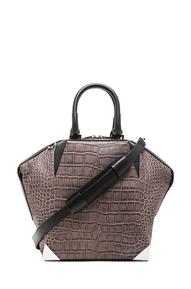 ALEXANDER WANG   Embossed Croc Emile Prisma Bag in Oyster   cynthia reccord