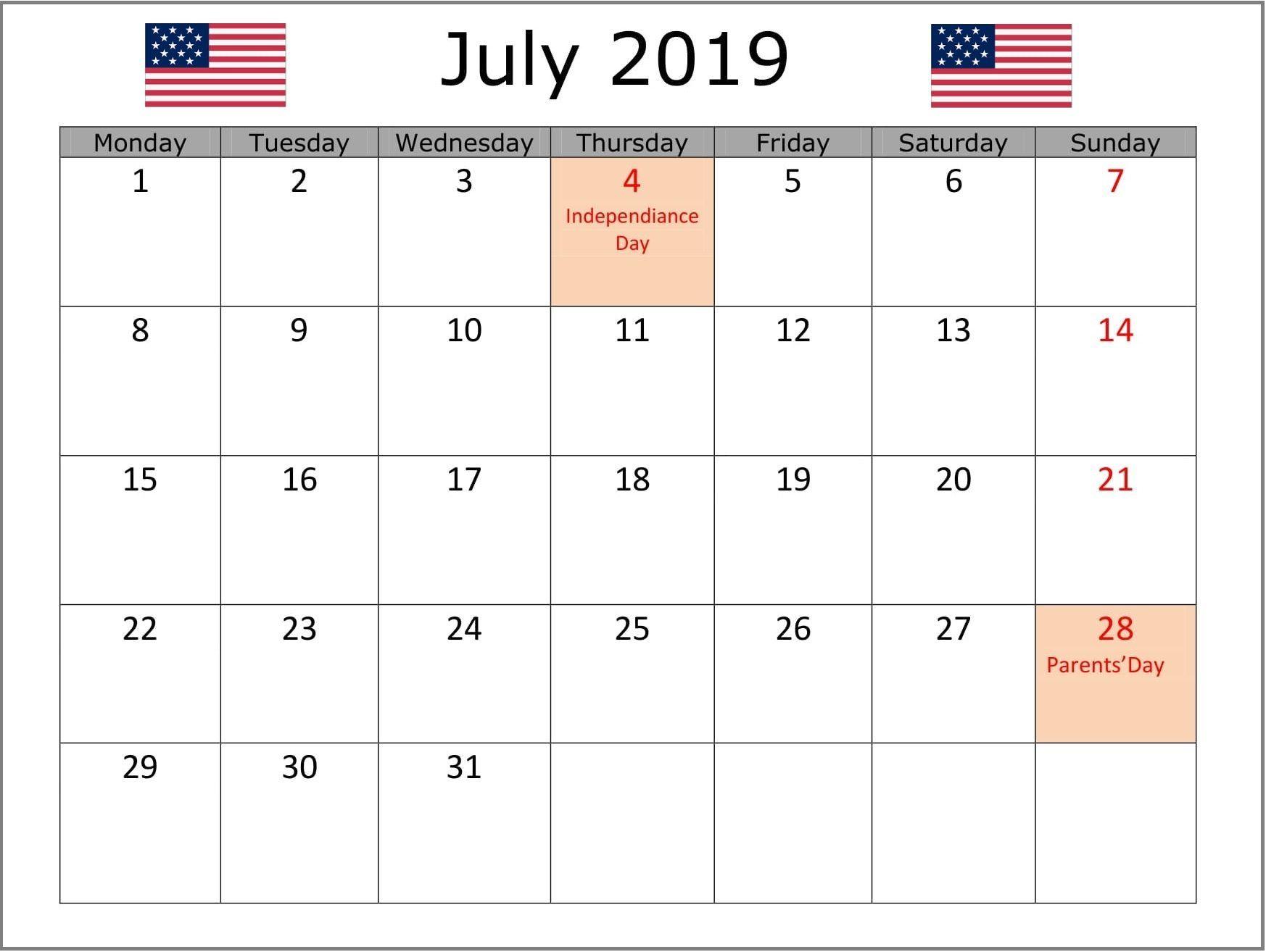 July 2019 Calendar Usa Holiday Calendar Us Holiday Calendar
