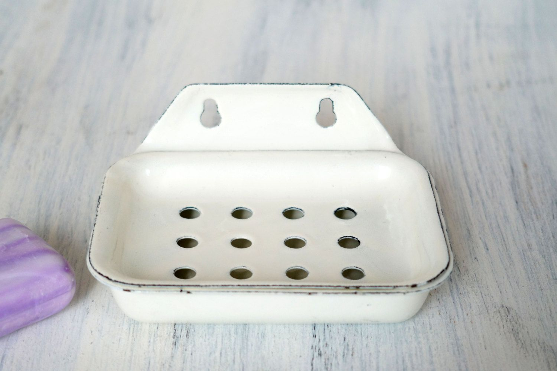 96bfb20c31 Vintage enamel soap dish Soviet enamelware Rustic bathroom decor Soap holder  White enamel Antique soap dish Wall Mount Soap Dish (38.00 USD) by Retronom
