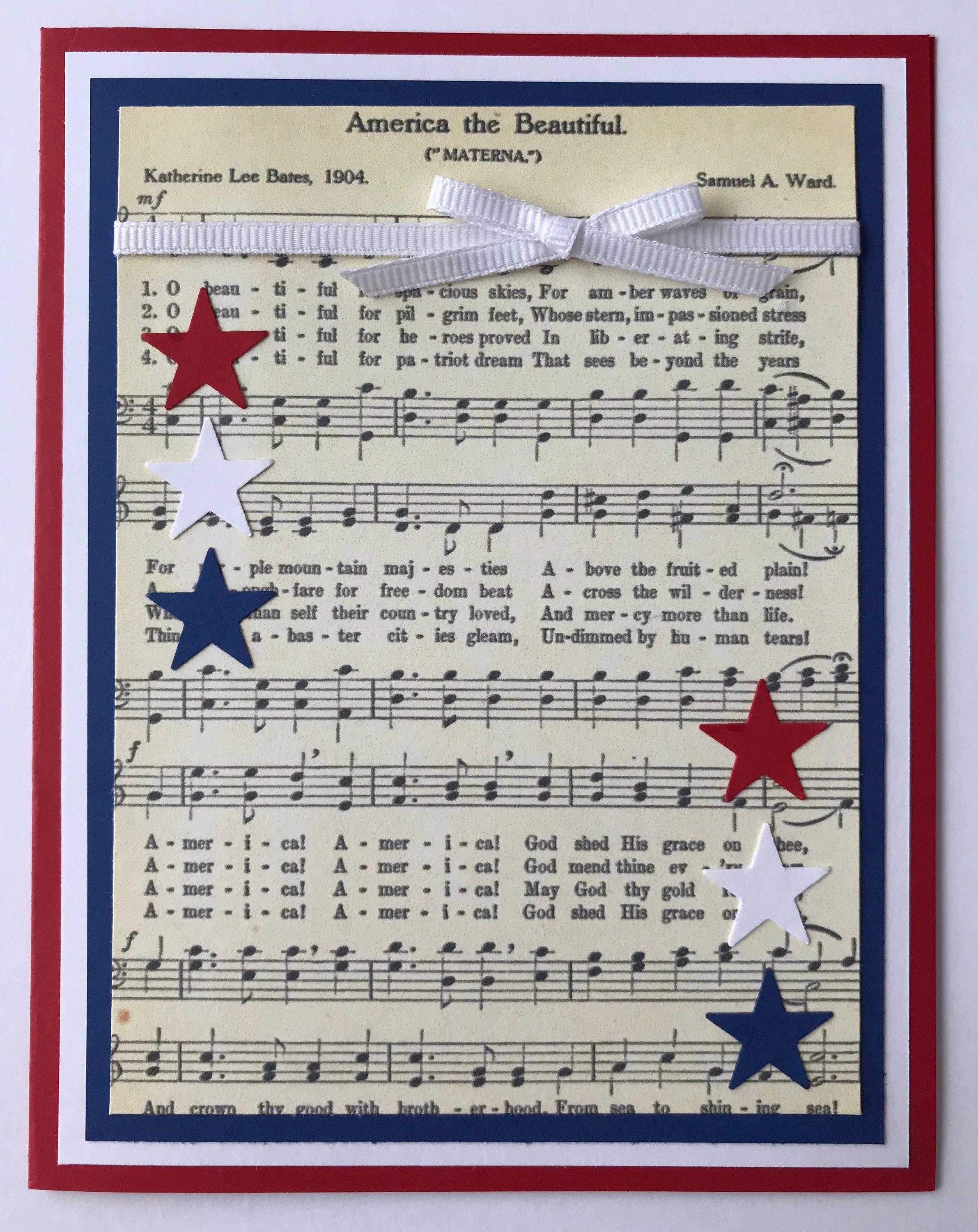 handmade 4th of july a2 card  america the beautiful  red
