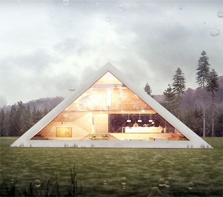 Pyramid Inspired House.Unique house designed by talented Mexican architect Juan Carlos Ramos looks like a modern version of an Egyptian pyramid. Beautiful pyramid shaped house features large windows, small balcony, and integrated garage for your car.