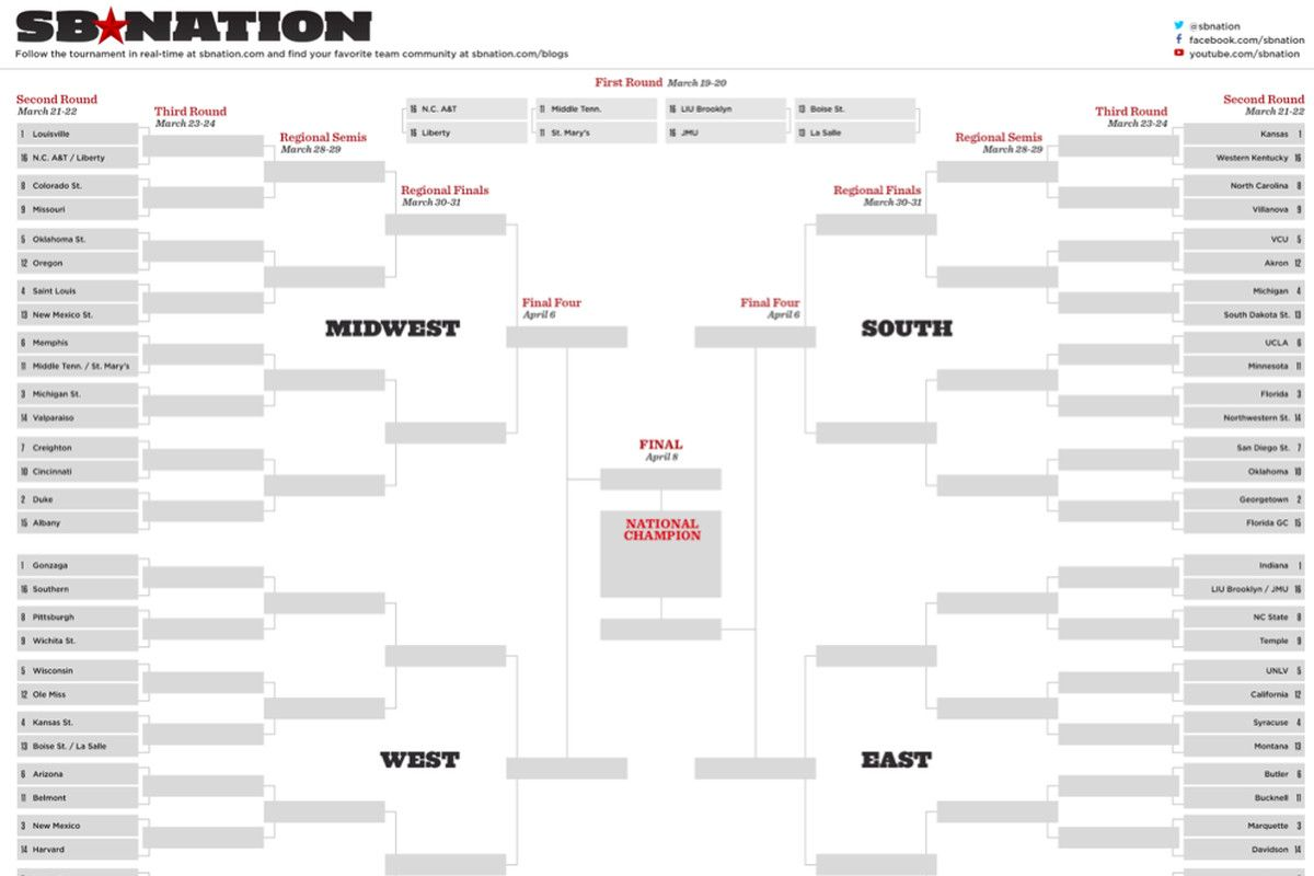 Ncaa Bracket 2013 Full Printable March Madness Bracket With Regard To Blank March Madness Bracket Template Cumed Printable Brackets Printable Ncaa Bracket March Madness