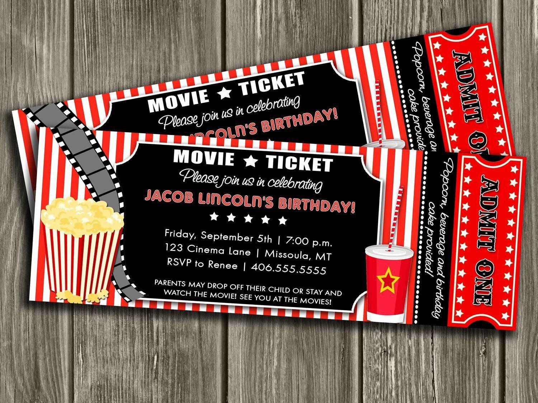 Movie Ticket Invitation Template Free Beautiful Movie Ticket Invitation Free Thank You Movie Party Invitations Party Invite Template Ticket Invitation Birthday