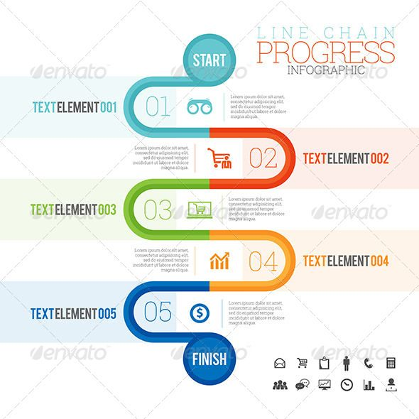 Line Chain Progress Infographic Infographic, Infographic - progress status report template