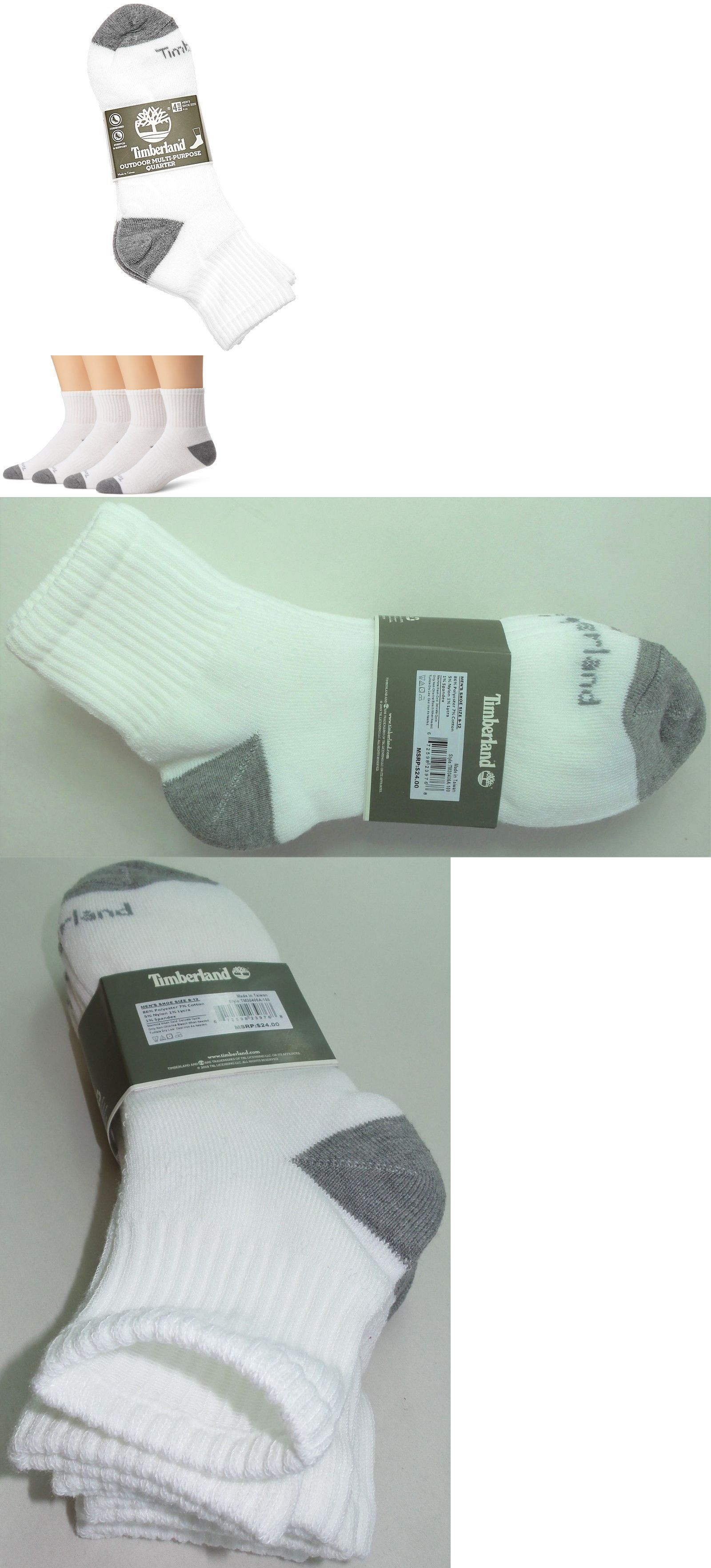 59f5febbc52d1 Socks 11511: Timberland Mens Quarter Crew Socks 4 Pair Pack Large White  Outdoor Cushioned New -> BUY IT NOW ONLY: $14.95 on #eBay #socks #timberland  ...