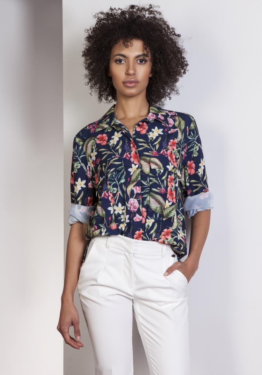 Klasyczna Koszula Oversize W Kwiaty Lk108 Oversized Shirt Shirts Casual Button Down Shirt