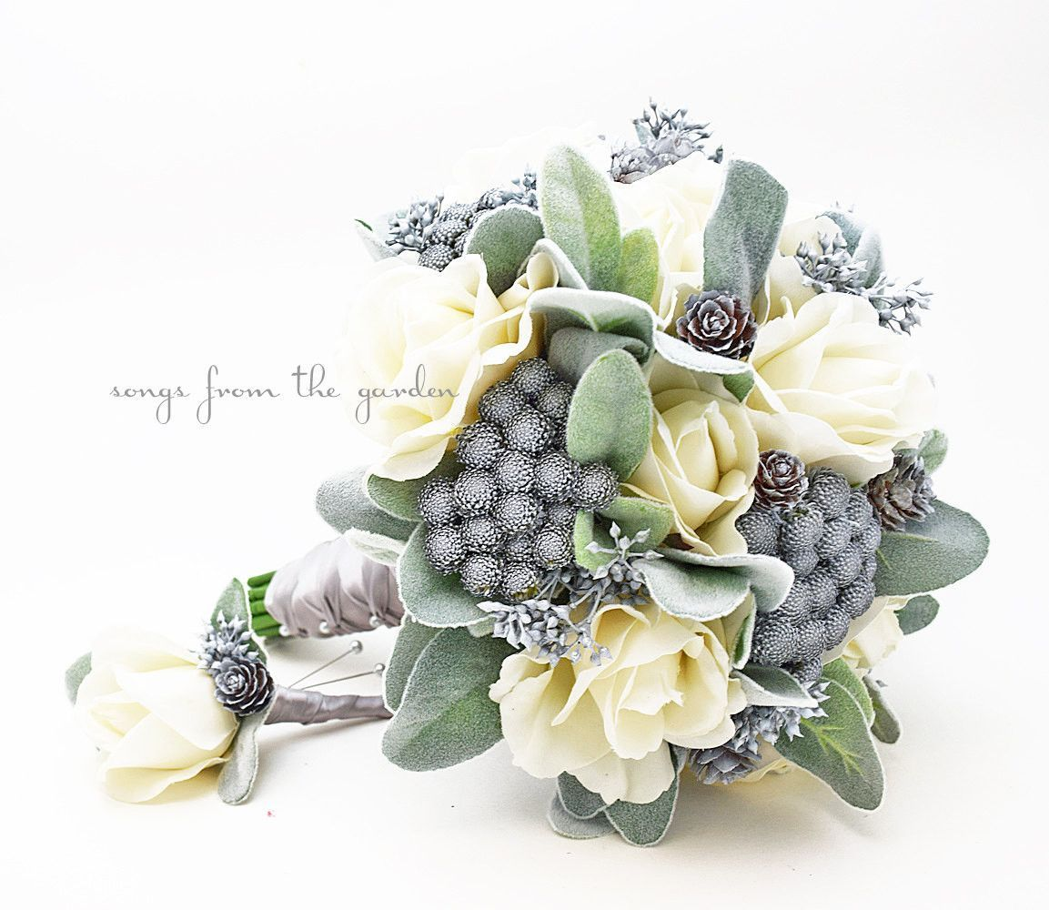 Winter Wedding Bridal Bouquet Brunia Eucalyptus Pine Cones Roses