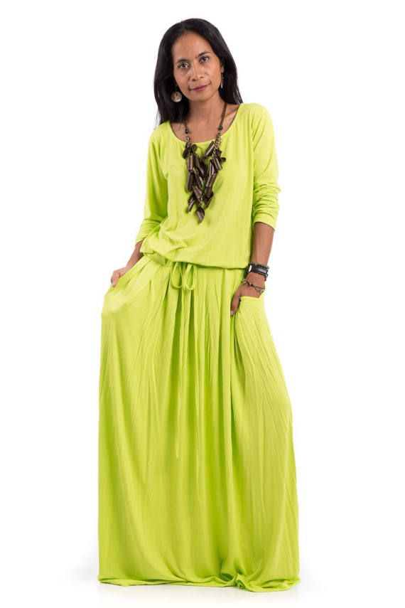 plus size dress, green yellow maxi dress - fluo yellow green long