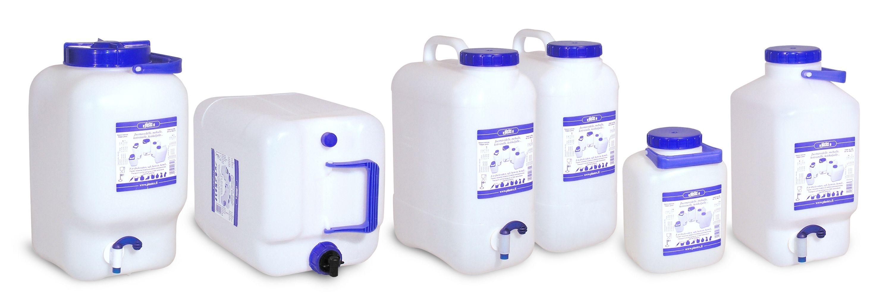 Suomessa valmistetut turvalliset vesiastiat mökkeilyyn ja muuhun juomaveden kuljettamiseen. Water containers. Made in Finland.
