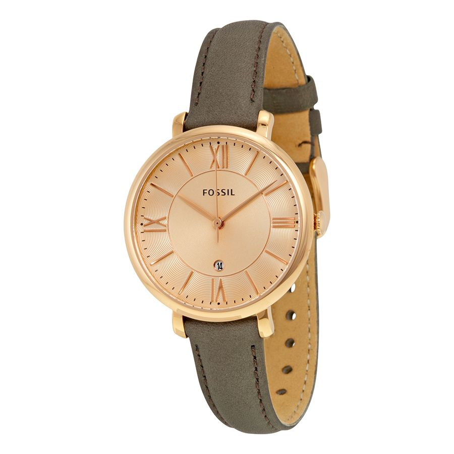 Fossil ES4254 Womens Rose Gold Leather Strap Square Watch