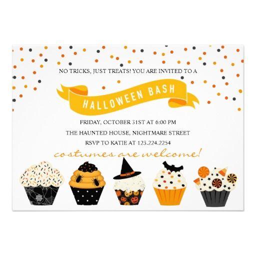 Confetti Cupcake Halloween Bash Costume Party Invite