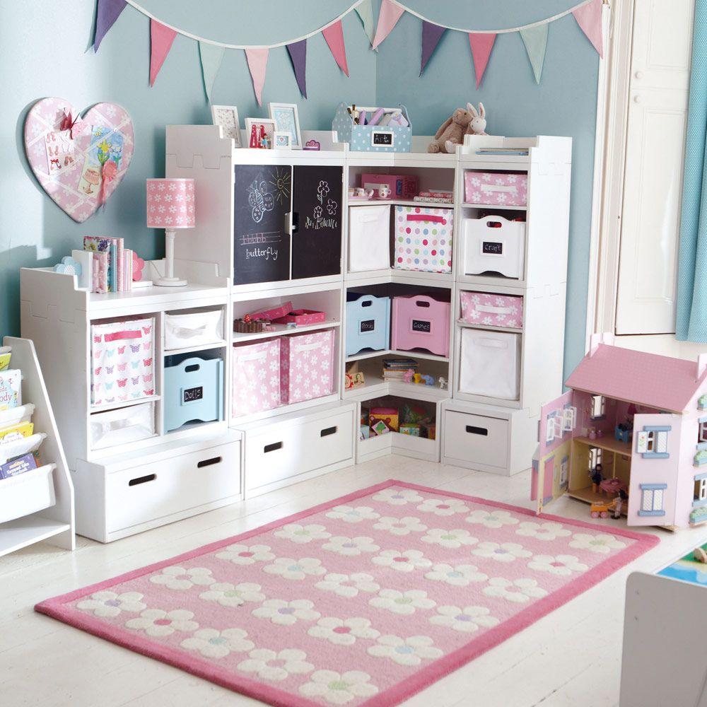 Kids Storage Bench Furniture Toy Box Bedroom Playroom: Canvas Storage Half-Cubes