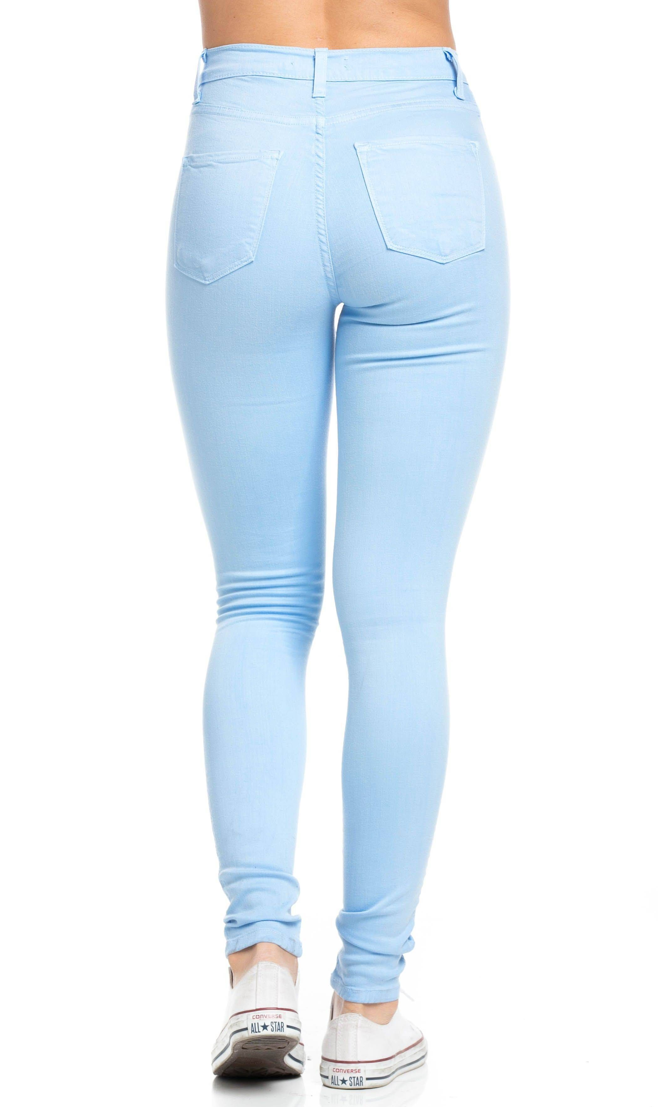 2e0bc4bea High Waisted Knee Slit Skinny Jeans in Baby Blue