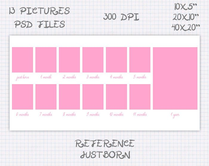 Storyboard Plantilla Foto collage 10x5 20x10 40x20 pulgadas rosa y ...