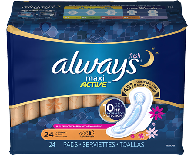 Always Fresh MAXI Pads Overnight with FlexiWings Maxi
