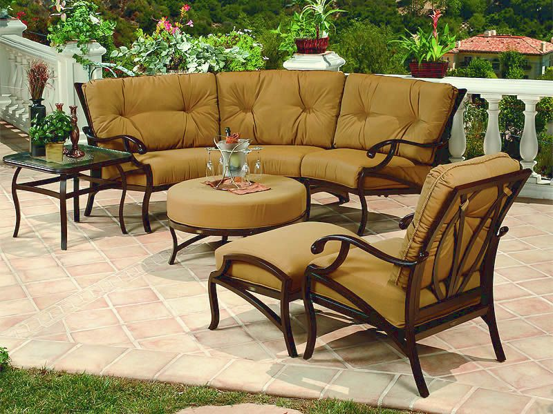 Volare Collection Cast Aluminum Outdoor Sofa Group Cushioned Patio Furniture