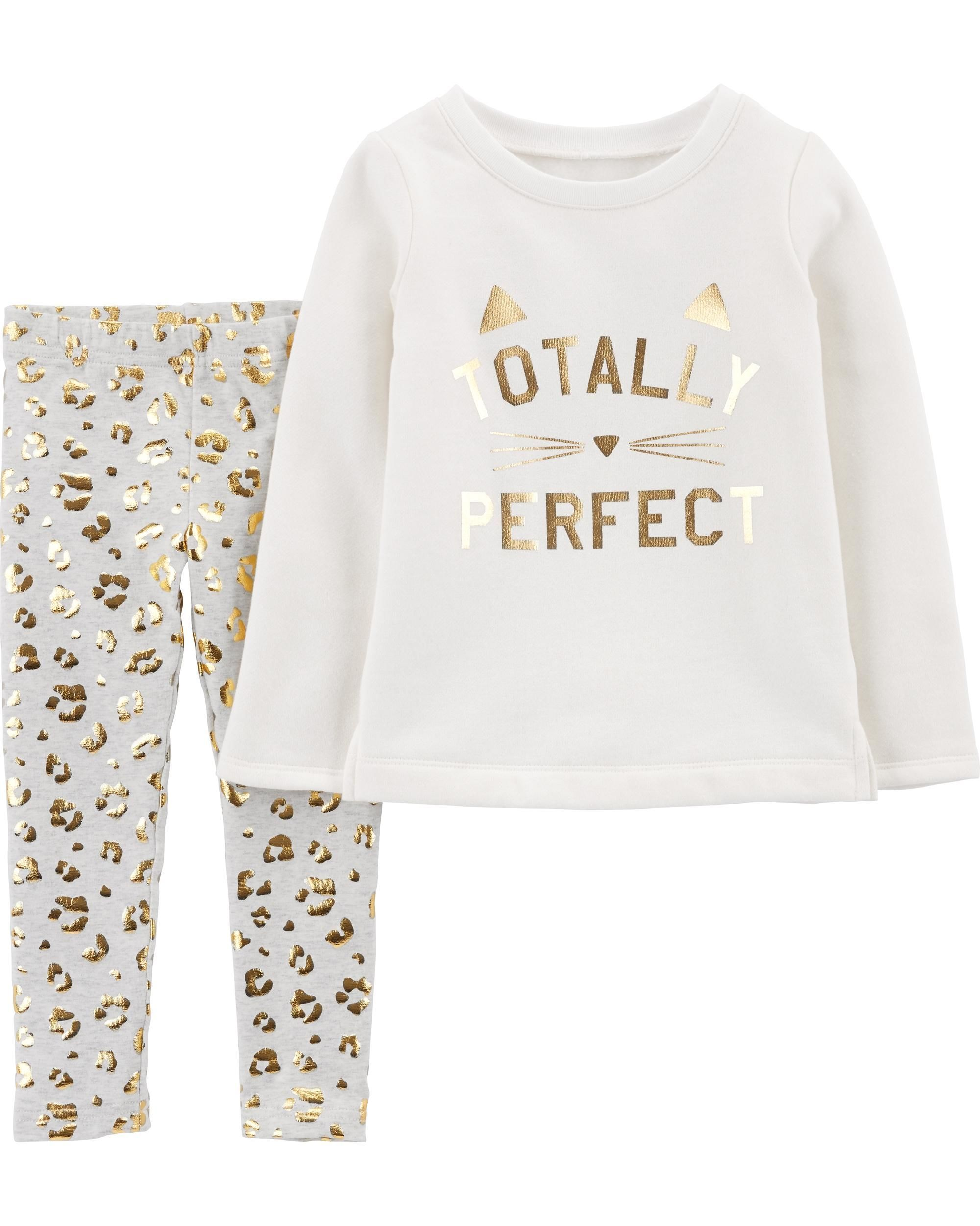 c9f73fd9a1727 2-Piece Cat Fleece Top & Leopard Legging Set | Baby 2019 | Carters ...