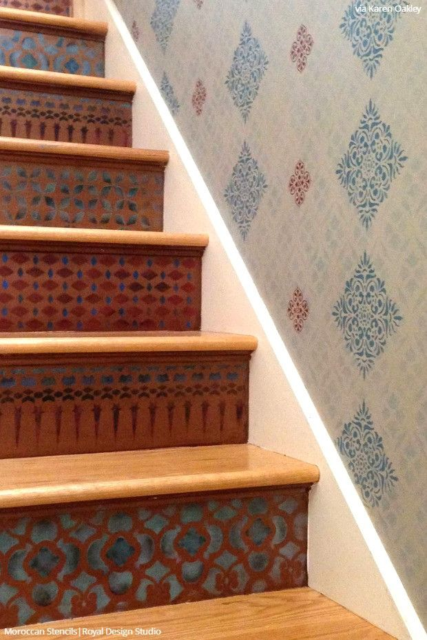 Simple To Sensational: 12 Stencil Ideas For Your Stairs   Painted Stair  Risers Using Moroccan, Floor, U0026 Tile Stencils From Royal Design Studio