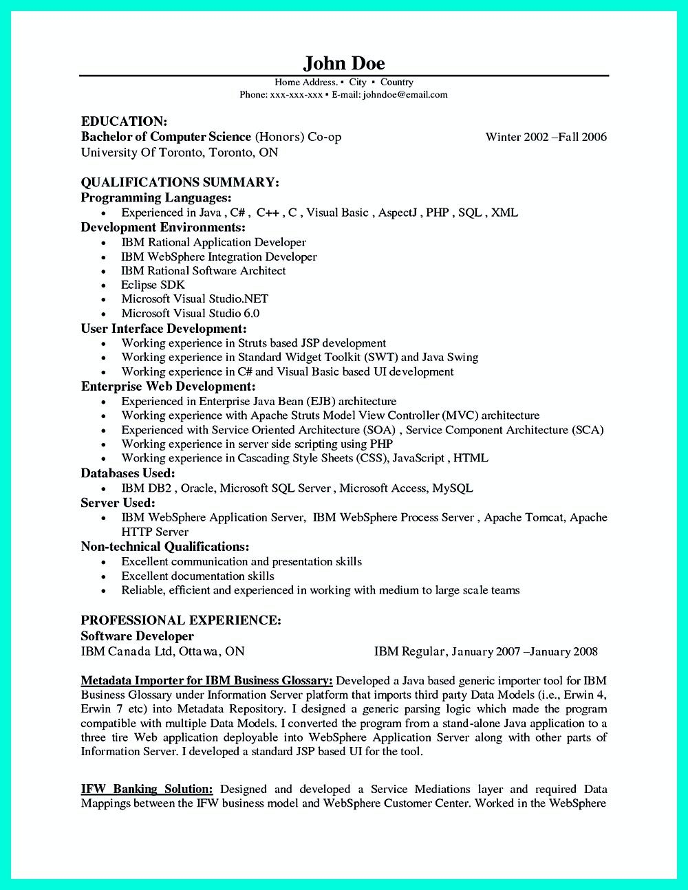 Websphere Administration Sample Resume Computer Programmer Resume Has Some Paragraphs That Focuses On The