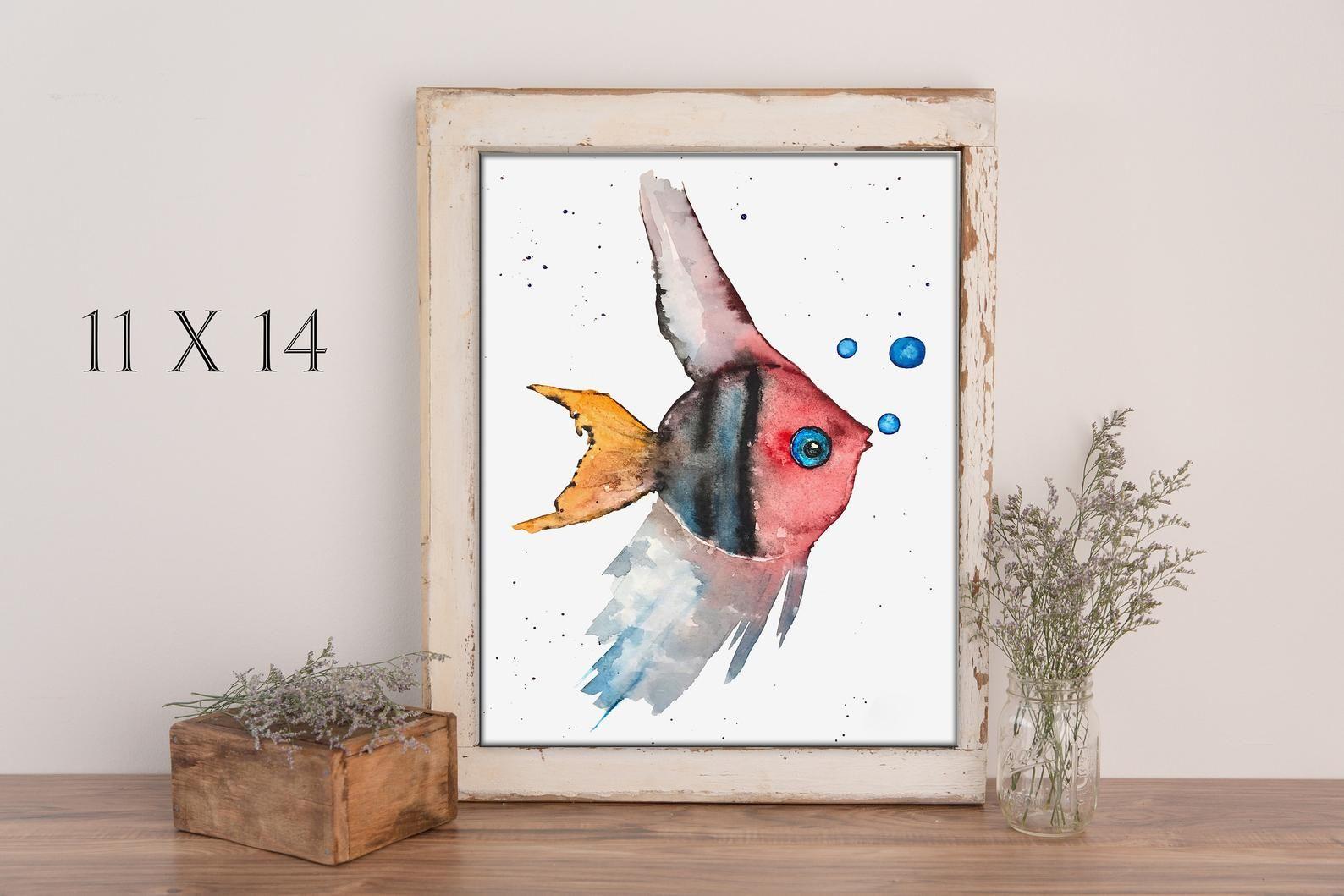 Fish Watercolor Print Painting Impression A L Aquarelle Et