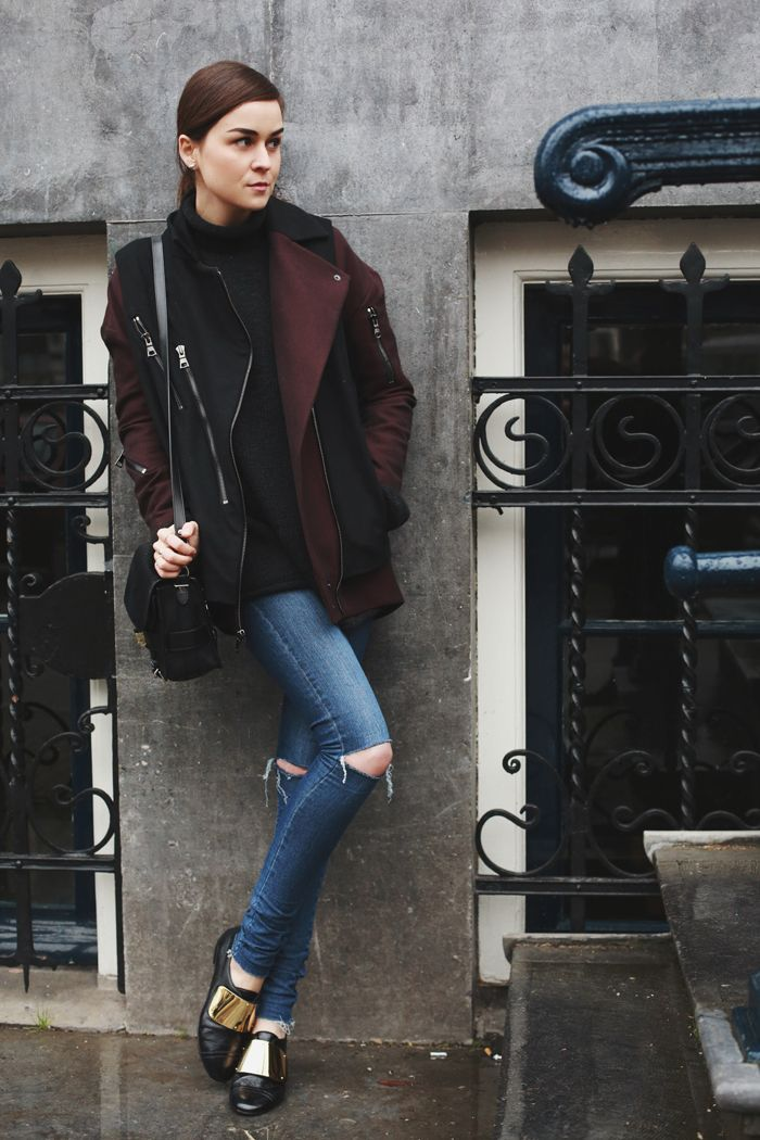 Andy Torres of ScrapbookStyle wears ASOS denim with a two-tone coat and metal-embellished oxfords // Steal Her Look! The Best Under $150 Style Blogger Pieces